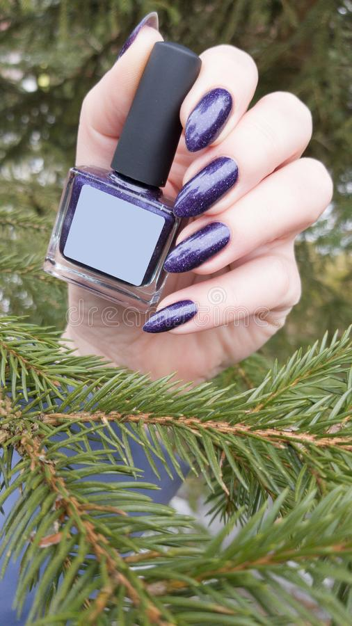Female hand with purple long nails and nail polish bottle. Female hand with purple long nails manicure and nail polish bottle stock photography