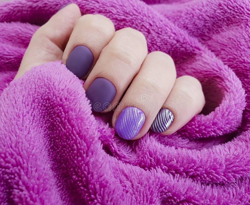 Female hand painting purple winter lifestyle elegance manicure, fur elegance, cosmetic. Female hand purple manicure painting fur elegance, cosmetic elegance stock image