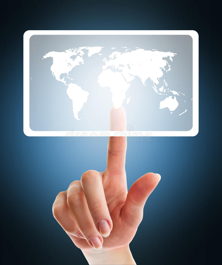 Download Female Hand Pushing Virtual Button With World Map Stock Illustration - Image: 23569069