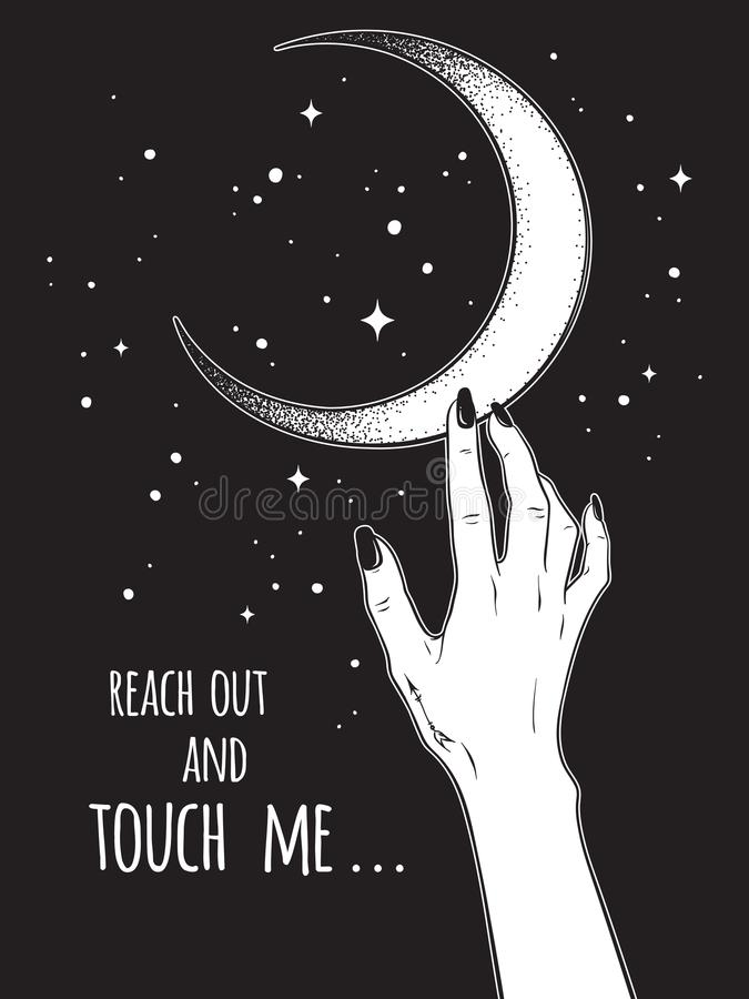 Female hand reaching out to the Moon vector illustration. Black work, dot work, line art, flash tattoo, poster or print design. Female hand reaching out to the vector illustration