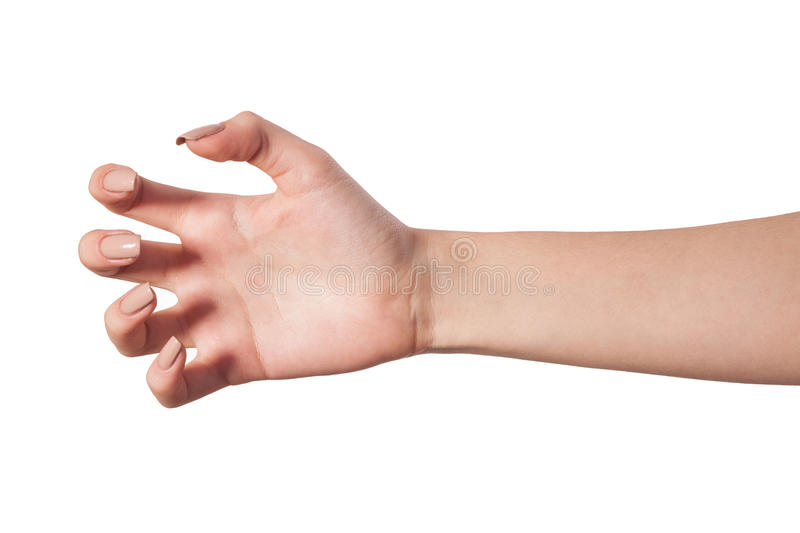 Female hand reaching for something on white royalty free stock photo