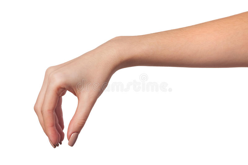 Female hand reaching for something on white royalty free stock photos