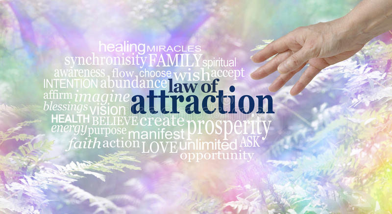 Make use of the Law of Attraction Word Cloud royalty free stock photography