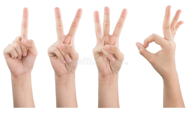 Female hand show gestures 1 2 3 OK isolated on white background stock photography