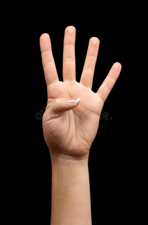 Female hand showing number four royalty free stock images