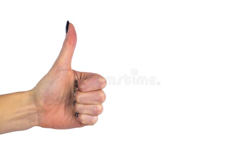 Female hand showing thumb up ok all right victory hand sign gesture. Gestures and signs. Body language isolated on white backgroun royalty free stock images