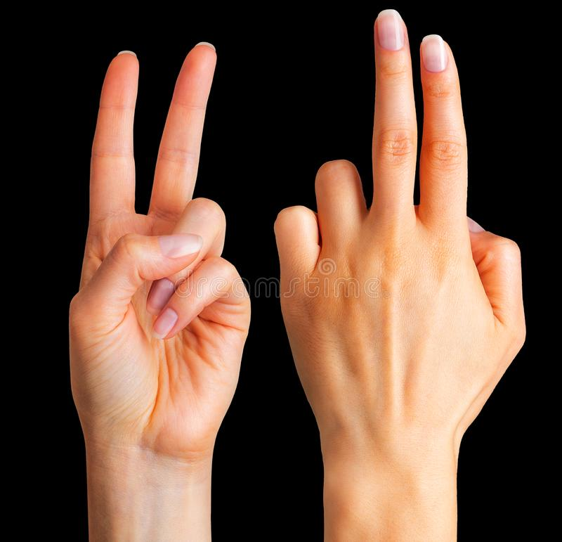 Female hand showing two fingers in the peace symbol. Female hand showing two fingers up in the peace, swear sign or multitouch gesture on black background royalty free stock image