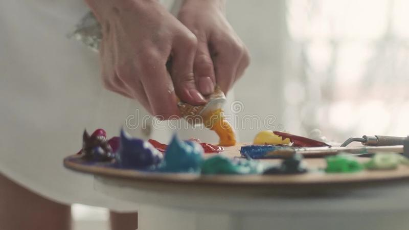 Female hand squeezing paint on the palette, close-up stock footage