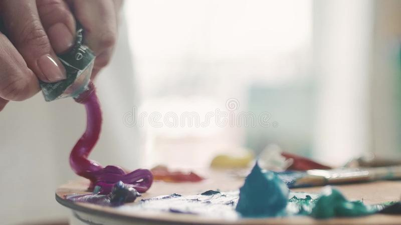 Female hand squeezing paint on the palette, close-up stock video footage