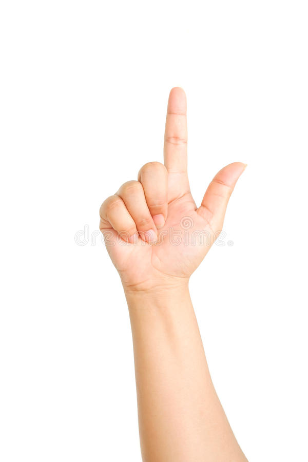 Female hand touching or pointing to something isolated. On white background stock photos