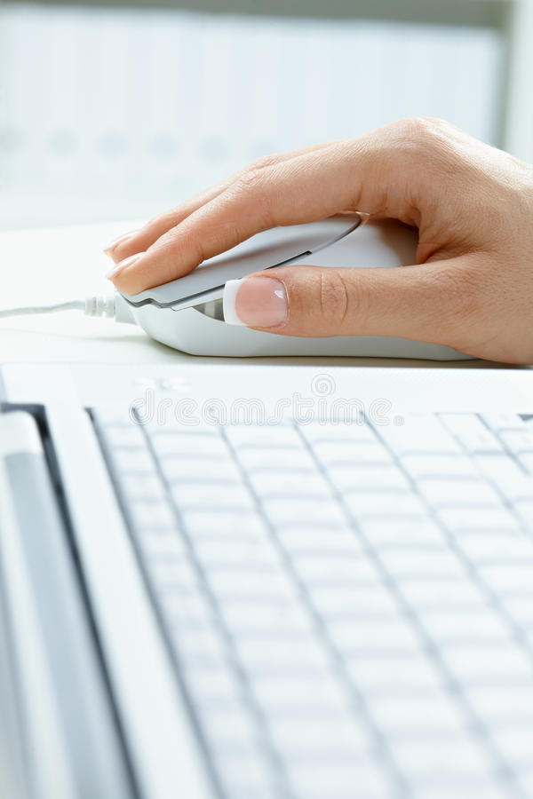 Download Female Hand Using Computer Mouse Stock Image - Image: 10928773