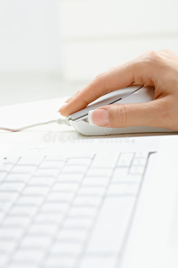 Download Female Hand Using Computer Mouse Stock Photo - Image: 11369036