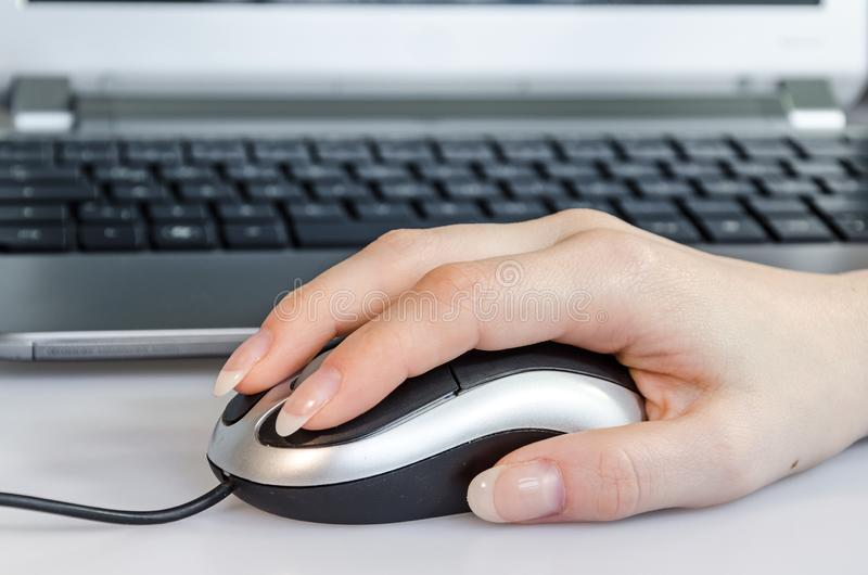 Female hand using computer mouse in front of laptop royalty free stock photos