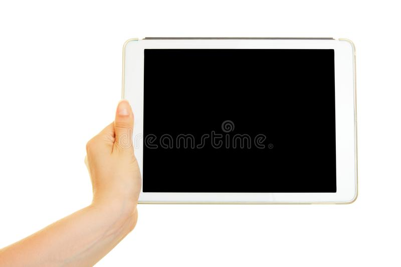 Hand with Tablet Computer for UX Design Mockup stock photos