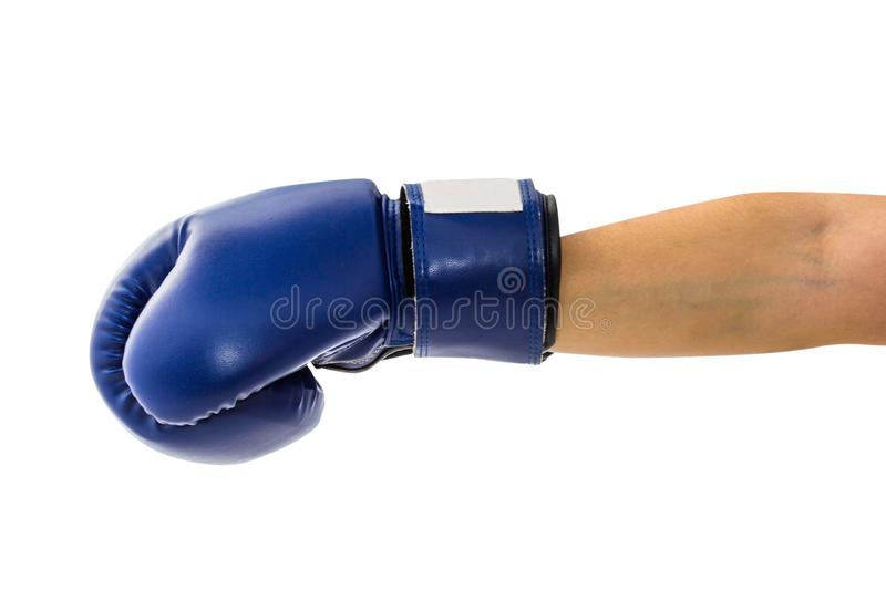 Female hand wearing boxing glove hitting forward or showing. stock photos