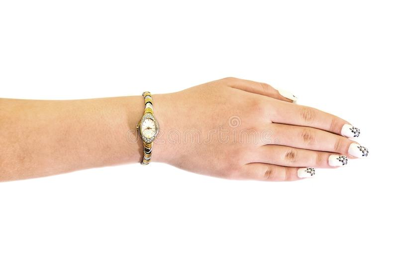 Female hand with a wrist watch on a white background royalty free stock photo