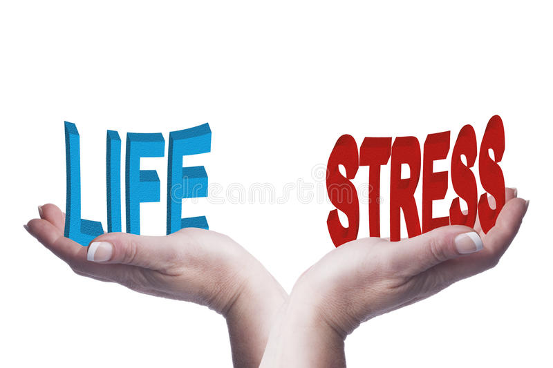 Female hands balancing life and stress 3D words conceptual image stock photography