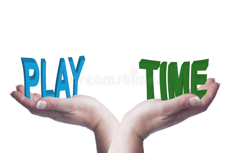 Female hands balancing play and time 3D words conceptual image. Representing lifestyle choices, work life balance, down time and recreational ideas stock image