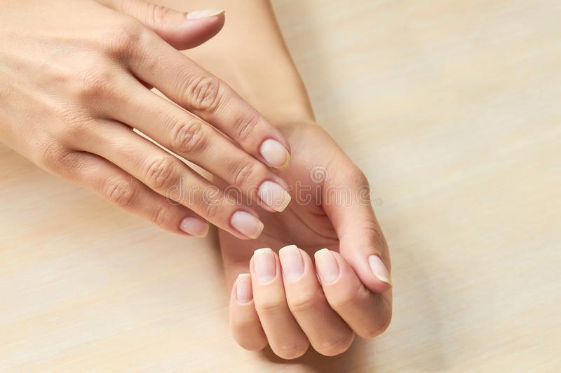 Female Hands With Clean Nails. Stock Image - Image of gentle ...