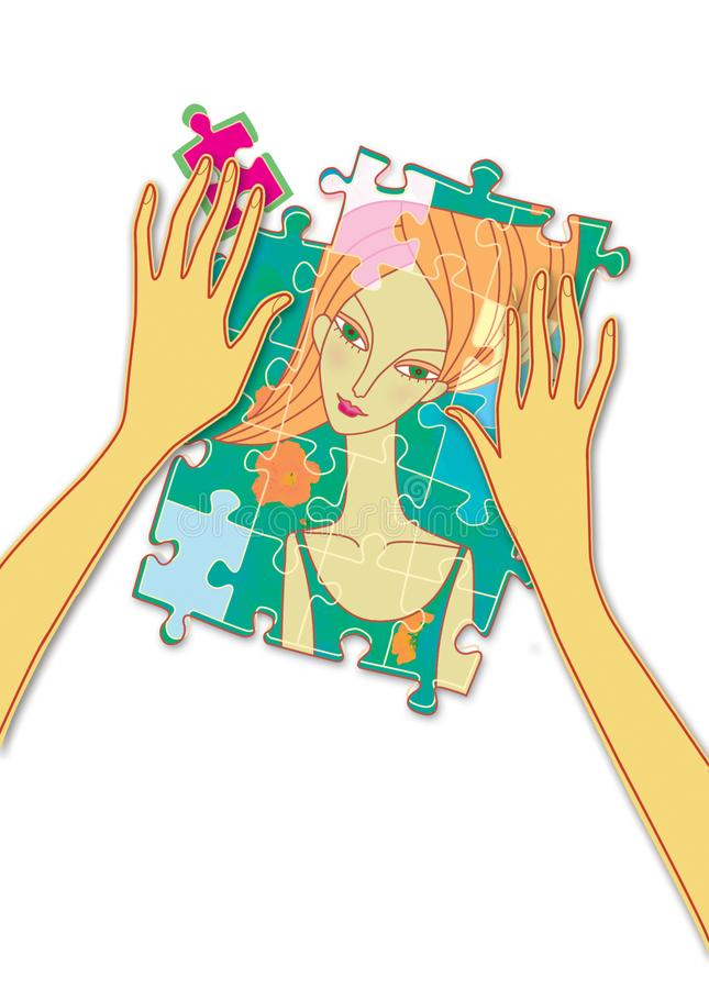 Female hands collect puzzle with a portrait of a girl. Psychology. Mind games royalty free illustration