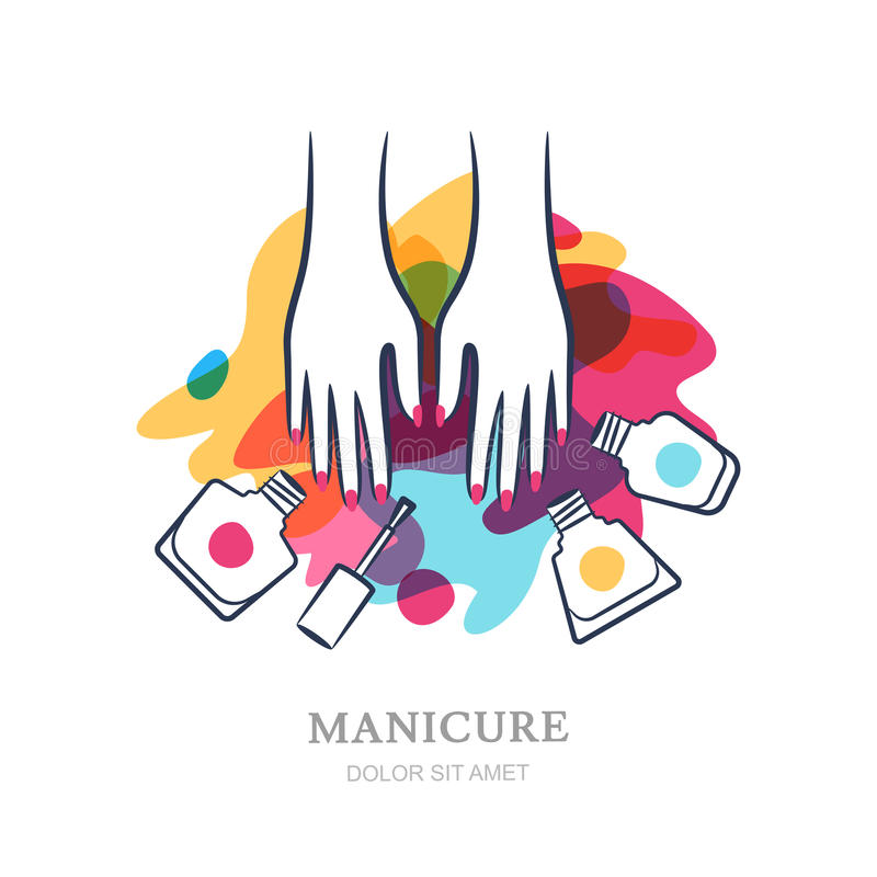 Free Manicure Beauty Hands Makeover: Female Hands On Color Nail Polish Splash Background