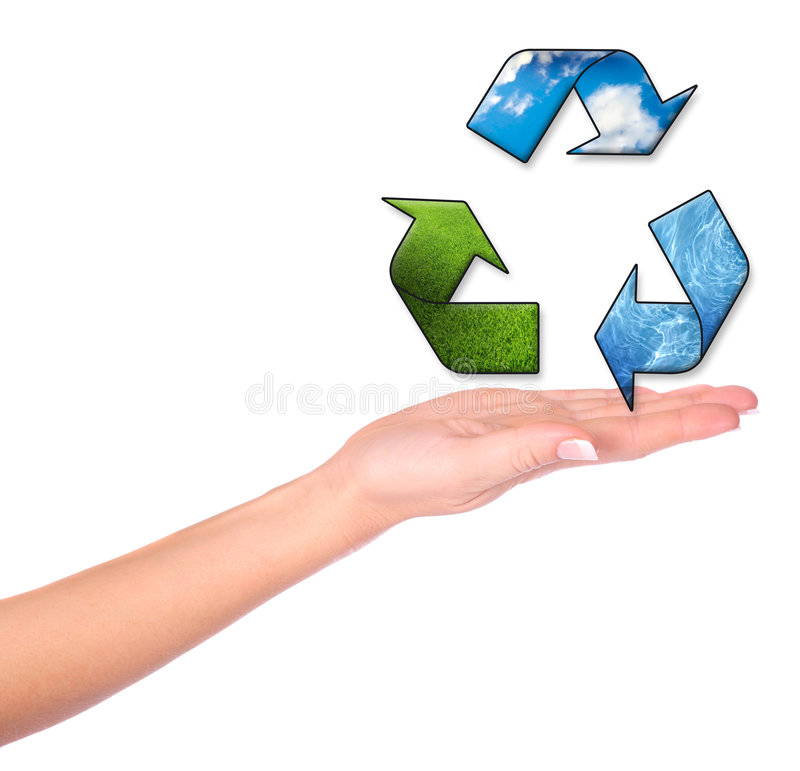 Female hands and conceptual recycling symbol. On the white background royalty free stock photo