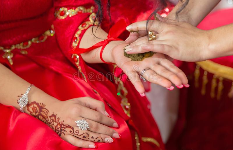Female hands decoratively colored by henna with cup . Hold a bowl with coconut under her hands . Mixing henna for hair. Natural he stock image