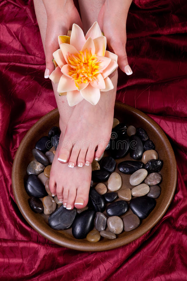 Female hands and feet. Hands and feet of a female being pampered royalty free stock images