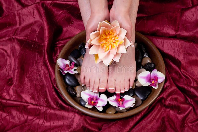 Female hands and feet. Hands and feet of a female being pampered stock photos