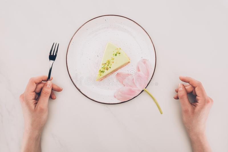 Download Female Hands, Flower And Piece Of Cake On Plate On White Tabletop Stock Image - Image of alone, tabletop: 109247857
