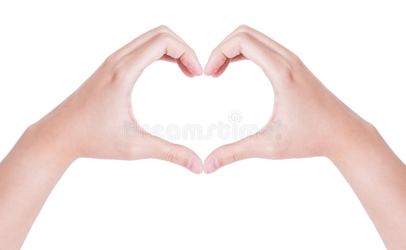 Female hands in the form of heart isolated on white stock image