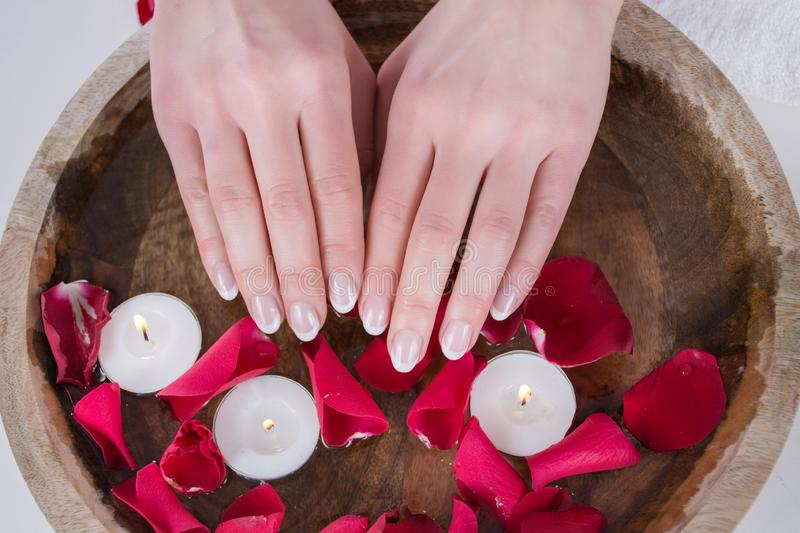 Female hands with french nails polish style and wooden bowl with water and floating candles and red rose petals royalty free stock photo