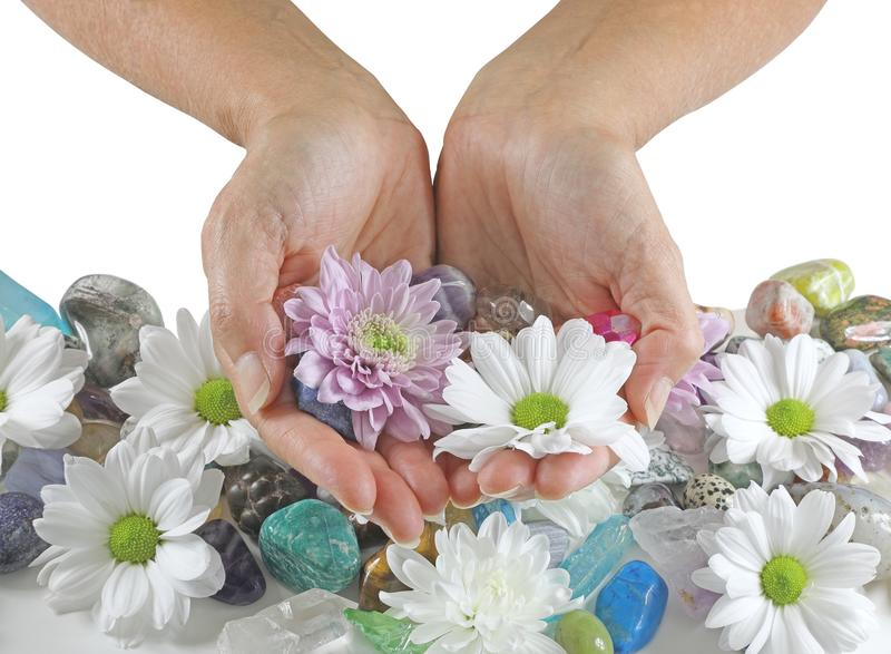 Holding daisies and Healing Crystals stock photo