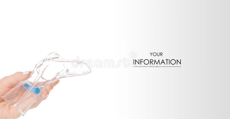 Female hands gynecological set gynecologist medicine pattern. On white background isolation royalty free stock image