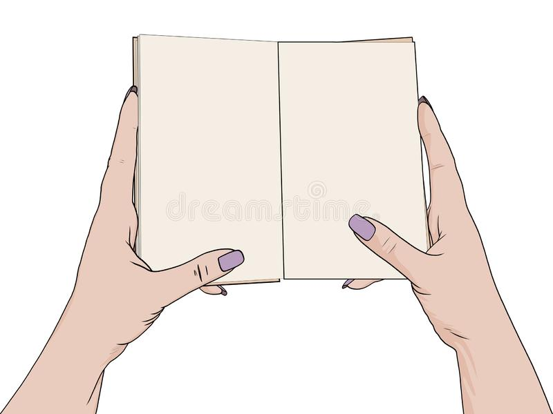 Female hands hold an open notebook. Blank for notes, diary. Drawing, the object is isolated on a white background. Vector illustration stock illustration