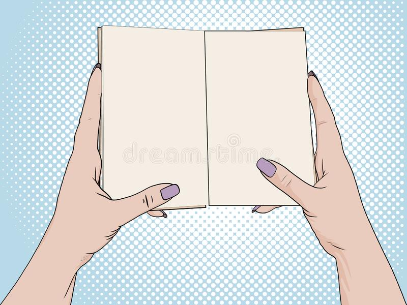 Female hands hold an open notebook. Blank for notes, diary. Drawing, Pop art background. Vector. Illustration stock illustration