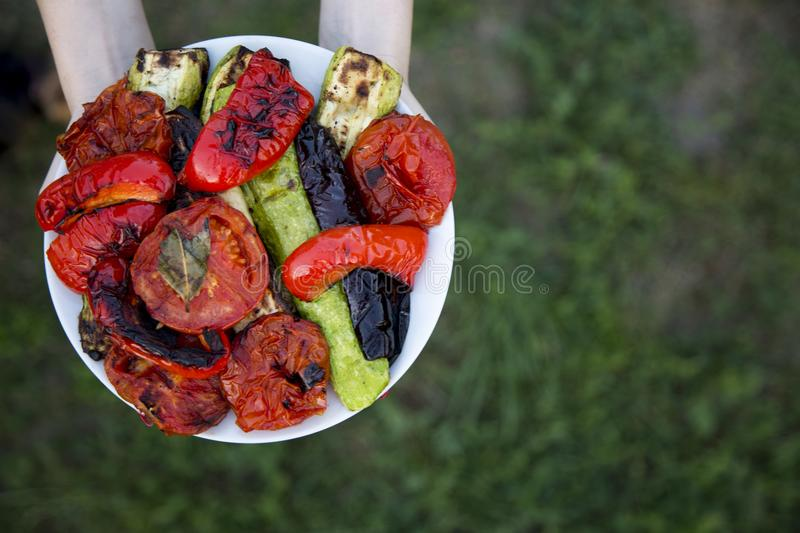 Female hands hold plate of grilled seasonal veggies, top view. From above. Copy space royalty free stock images