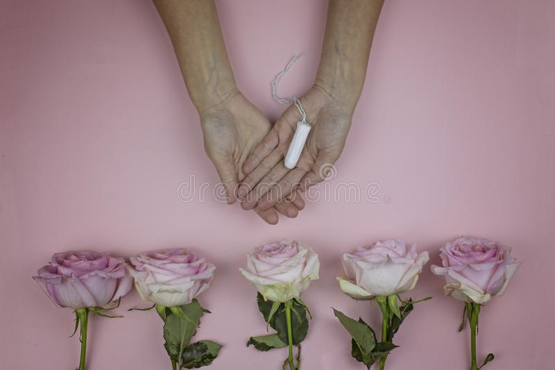Female hands hold hygienic tampon. Feminine hygiene concept stock photo