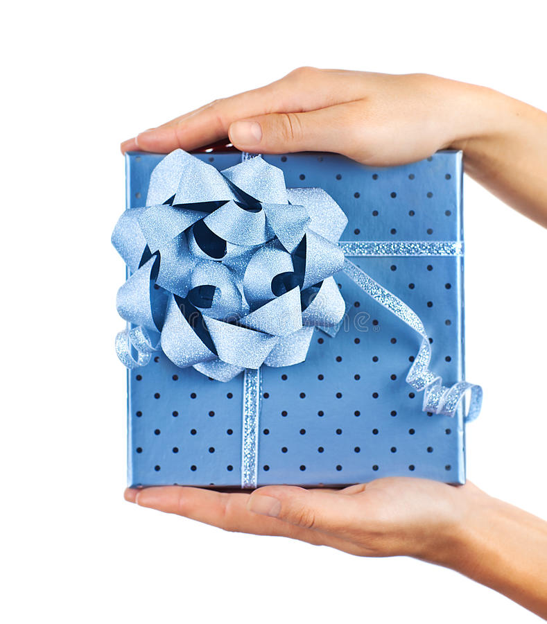 Female Hands Holding Blue Gift Box Stock Image