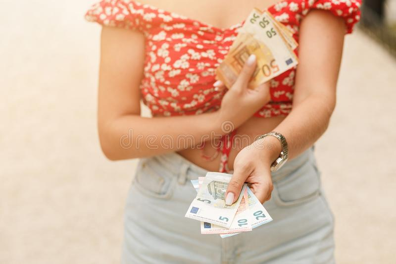 Female hands holding euro bills. Euro Money. Euro cash background. royalty free stock photography