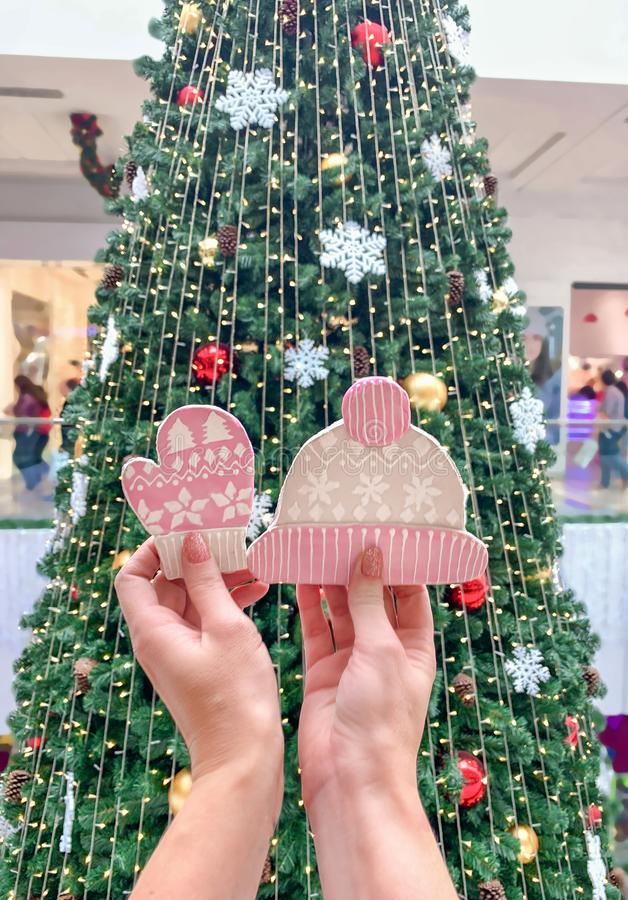 Female hands holding ginger cookies in the form of a hat and mittens, against the background of the Christmas tree royalty free stock photos