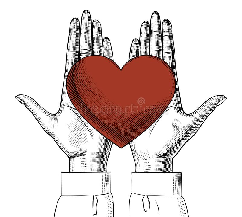 Free Female Hands Holding On The Palm A Red Heart. Royalty Free Stock Images - 173407579