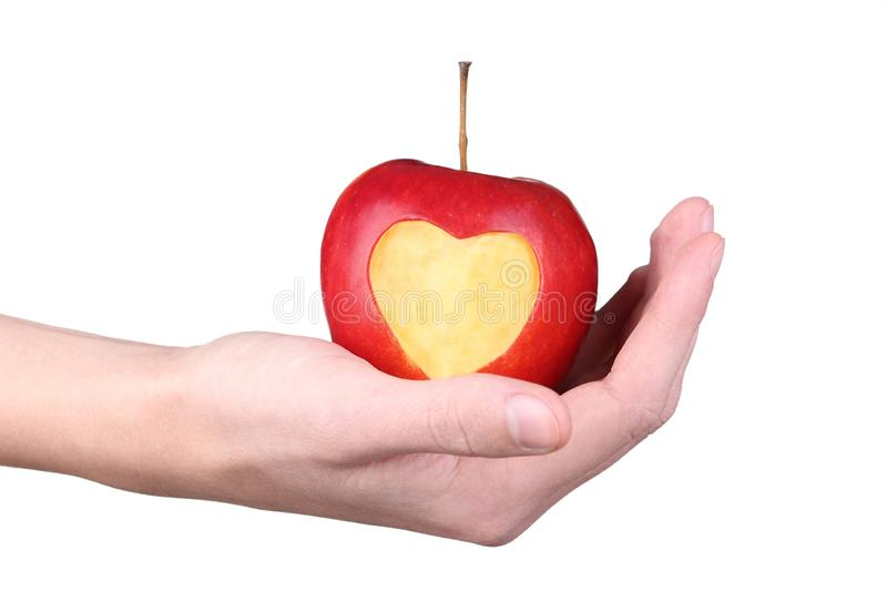 Hands holding apple stock image