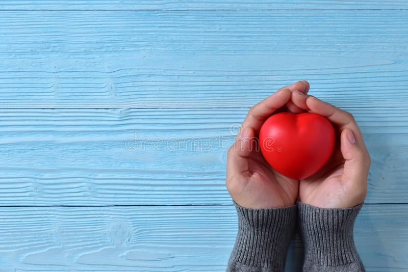 Female hands is holding a Red heart. Valentines day. Female hands is holding a Red heart on blue wooden background. Copy space stock photos