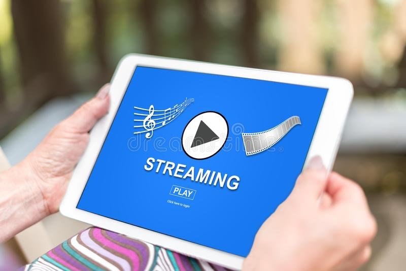 Streaming concept on a tablet royalty free stock images
