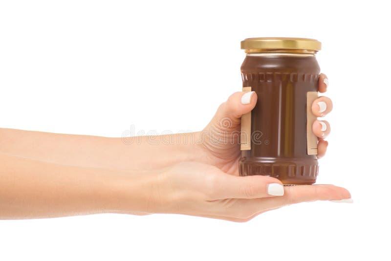 Female hands jar jam apricot royalty free stock photos