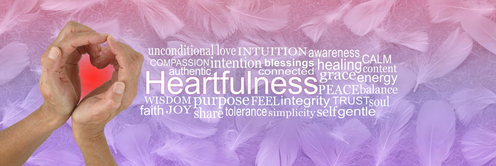 Heartfulness Hands Word Tag Cloud stock photo