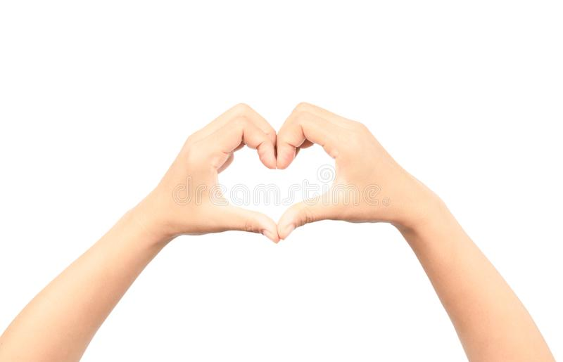 Female hands making a heart shape isolated on white background stock image