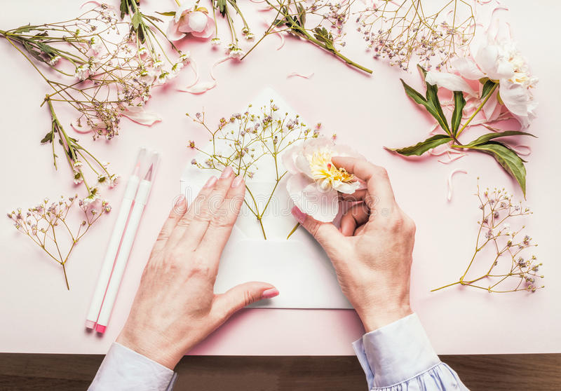 Female hands making lovely floral arrangement with flowers in opened envelop on pale pink background, top view. Creative greeting stock photos