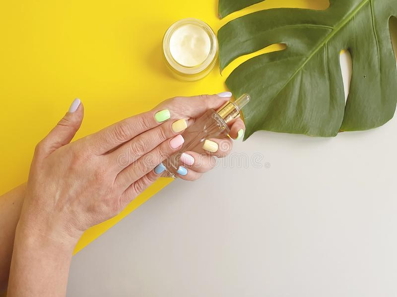 Female hands manicure, cosmetic essence creative cream summer , monstera leaf on a colored background stock photos